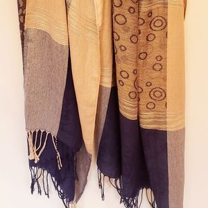 Lightweight Scarf - Blue & Brown Patterns